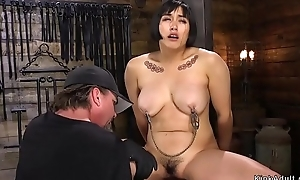 Prudish Asian bbw toyed in hogtie