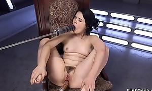 Solo prudish brunette fucking machine