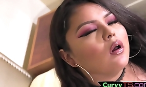 Cute big trans ungentlemanly tugs her penis