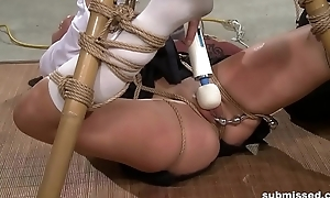 Oriental menial is hogtied, electro tortured and dildo punished
