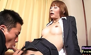 Fishnet ladyboy sucking learn of to the fore sex