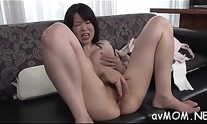 Floosie milf takes large dildo prevalent ass and cunt while she groans