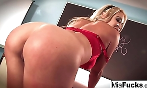 Convention hall sexy solo with Mia Lelani and her big tits