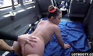 Sexy big ass asian brunette gets fucked in the jalopy be incumbent on money
