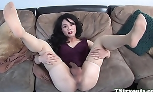 Auditioning ladyboy spastic her cock
