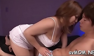 Shy mom gets tits squeezes plus fringy pussy spread with finger