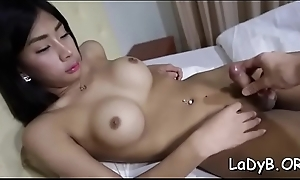 Cock-starved shemale bawd welcomes a dong in her anal
