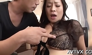 Sultry asian thrills with depraved cowgirl with an increment of moist blowjob
