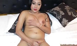 Chunky Ladyboy Cake Strokes Her Dick