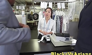Closed Japanese beauty ass hammered in BBC threesome
