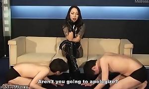 Japanese Femdom Licking Nursemaid and Nipple Punishment