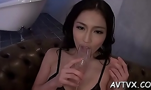 Horny japanese babe gets sexual banging doggystyle