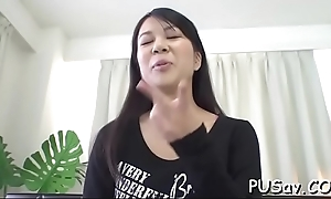Stud stretches her cum-hole embouchure and pounds her with his cock
