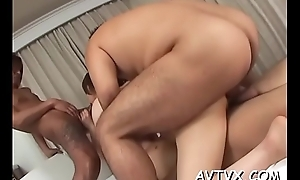 Oriental chick gets her hairy bawdy cleft drilled ferociously