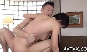 Beautiful oriental sweetheart arouses with wet fellatio
