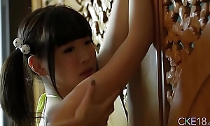Shy Japanese legal age teenager Uri'_s body touched and massaged in all directions oil