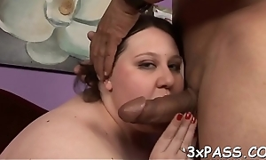 Heavy huge dark dong enters mouth of hot tasteless plump