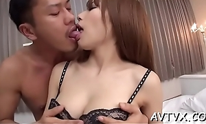 Pretty japanese chick receives beastlike doggystyle drilling