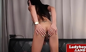 Gorgeous ladyboy wanks off and shows will not hear of ass