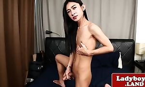 Flannel wanking transsexual plays with herself