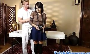 Mediocre asian beauty dicksucking masseur