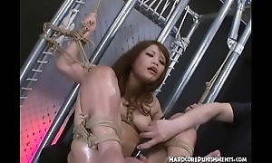 Intense BDSM Asian Style for Japanese Teen with an increment of Her Hairy Pussy