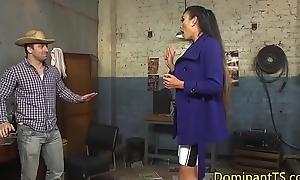 Jerking asian transgender babe anal fucks guy