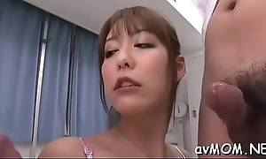 Three boys and one excited asian slut
