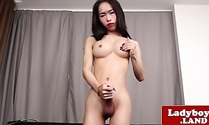 Real ladyboy teasing and jerking will not hear of cock