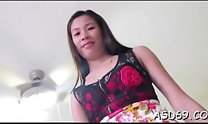 Playful chick shows her twat