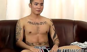 Hot Oriental punk Yoshi Kawasaki rubs his rock hard rocket