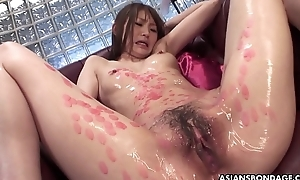 Candle dripped Asian slut sucking on cocks and that babe can't live without the freakiness