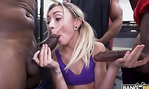 Pretty blonde girl with pigtails serves 3 horny black guys