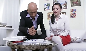 Petite Russian student takes huge pecker up her butthole