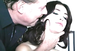 Dark-haired babe with natural tits gets drilled away from horny policeman