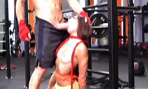 Three cock-craving strumpets get fucked hard in the gym