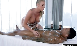 Busty fuckdoll in sickly nylons serves BBC in frame
