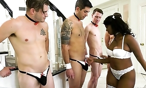 Cock-hungry ebony in white nylons gets gang banged