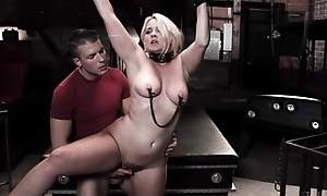 Chubby blonde woman gets tied up and fucked by her stepson