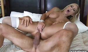 Take charge blonde floozy rides lover's cock up say no to tight asshole