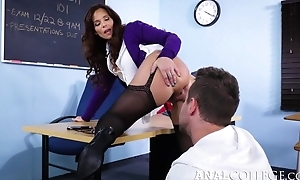 Naff teacher seduced Overconfidence into having it away her butthole