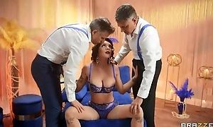 Big breasted minx in glum lingerie serves three hard ramrods