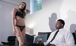 Horny raven dude with a huge dick assfucks his personal assistant