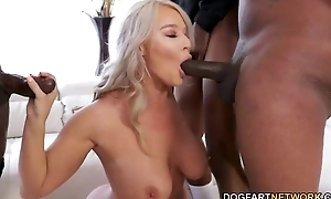 Nymphomaniac MILF just about stockings serves 3 BBCs within reach the same time