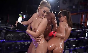 Four wild Serbian babes get oiled up and fucked hard in rub-down the gym